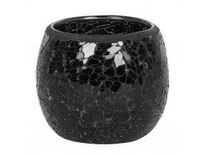 Jones Home Skleněný svícen mozaika černý, 10 x 10 x 9,5 cm