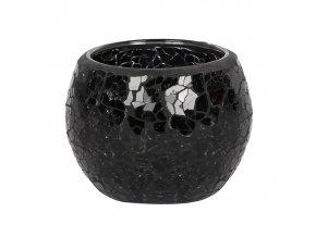 Jones Home Skleněný svícen mozaika černý, 8 x 8 x 6,5 cm