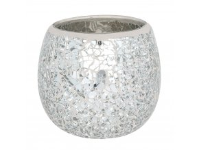Jones Home Skleněný svícen mozaika stříbrný, 10 x 10 x 9,5 cm