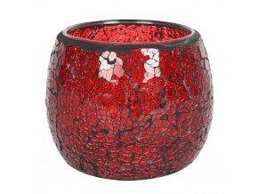 Jones Home Skleněný svícen mozaika červený, 10 x 10 x 9,5 cm