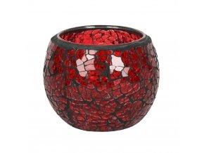 Jones Home Skleněný svícen mozaika červený, 8 x 8 x 6,5 cm