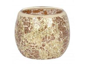 Jones Home Skleněný svícen mozaika zlatý, 10 x 10 x 9,5 cm