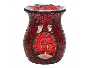 Jones Home Skleněná aroma lampa mozaika červená, 14 x 11 x 11 cm