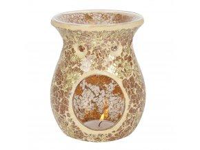 Jones Home Skleněná aroma lampa mozaika zlatá, 14 x 11 x 11 cm