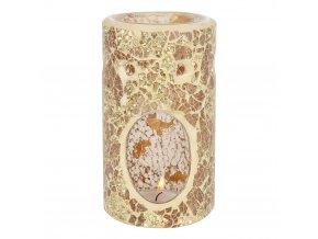 Jones Home Skleněná aroma lampa mozaika zlatá, 14,5 x 8,5 x 8,5 cm