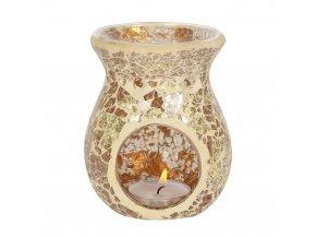 Jones Home Skleněná aroma lampa mozaika zlatá, 11 x 9 x 9 cm