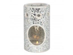 Jones Home Skleněná aroma lampa mozaika stříbrná, 14,5 x 8,5 x 8,5 cm
