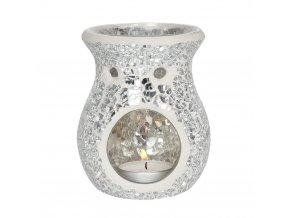 Jones Home Skleněná aroma lampa mozaika stříbrná, 11 x 9 x 9 cm
