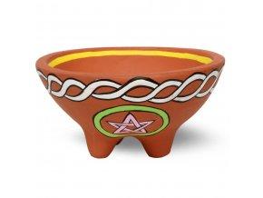 Mani Bhadra Pentagram Terakotová miska pro vykuřování, 13 x 13 x 7 cm