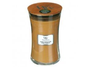 WoodWick Caramel Toasted Sesame vonná svíčka s dřevěným knotem, 609,5 g