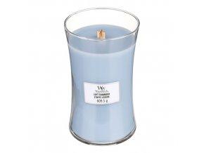 WoodWick Soft Chambray vonná svíčka s dřevěným knotem, 609,5 g