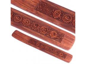 Mani Bhadra Stojánek na vonné tyčinky 7 chakra dřevěný, 25 x 4 cm