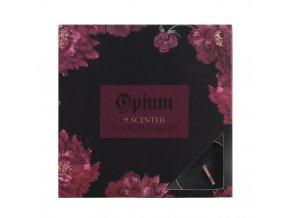 Černé čajové svíčky Opium Dárková sada, 9 ks