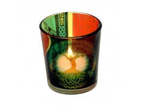 Mani Bhadra Strom života Skleněný svícen na čajové svíčky, 6 x 5 cm