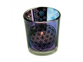 Mani Bhadra Květ života Skleněný svícen na čajové svíčky, 6 x 5 cm