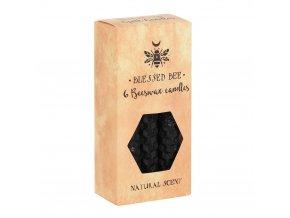 Blessed Bee Magické svíčky Černé Včelí vosk, 6 ks