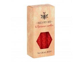 Blessed Bee Magické svíčky Červené Včelí vosk, 6 ks