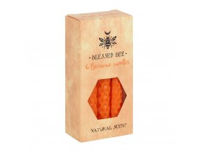 Blessed Bee Magické svíčky Oranžové Včelí vosk, 6 ks