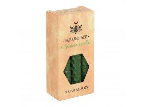 Blessed Bee Magické svíčky Zelené Včelí vosk, 6 ks