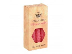 Blessed Bee Magické svíčky Růžové Včelí vosk, 6 ks