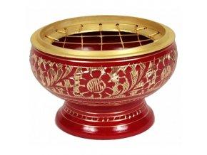 Mani Bhadra Mosazná vykuřovací miska červená, 7,5 x 5,5 cm