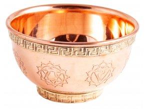 Mani Bhadra Chakra Symbols Měděná vykuřovací miska Kadidelnice, Ø 8 cm