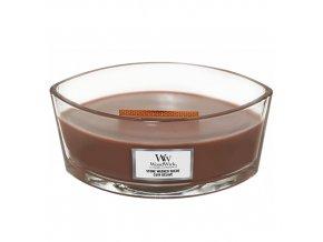 WoodWick Stone Washed Suede vonná svíčka loď s dřevěným knotem, 453,6 g
