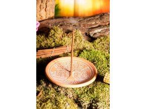 Mani Bhadra Stojánek na vonné tyčinky Yggdrasil přírodní keramika, 14 cm