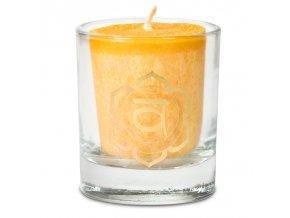 Mani Bhadra 2. chakra Swadhishtana Vonná votivní čakrová svíčka ve svícnu oranžová, 1 ks