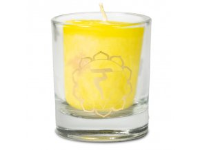 Mani Bhadra 3. chakra Manipura Vonná votivní čakrová svíčka ve svícnu žlutá, 1 ks