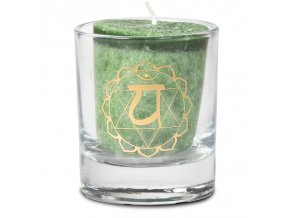 Mani Bhadra 4. chakra Anahata Vonná votivní čakrová svíčka ve svícnu zelená, 1 ks