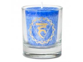 Mani Bhadra 5. chakra Vishudda Vonná votivní čakrová svíčka ve svícnu modrá, 1 ks