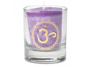 Mani Bhadra 7. chakra Sahasrara Vonná votivní čakrová svíčka ve svícnu fialová, 1 ks