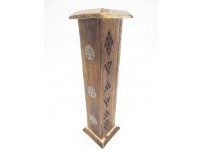 Mani Bhadra Věž se symbolem Tree of Life Stojánek na vonné tyčinky dřevěný, 30 x 6 cm