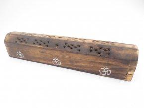Mani Bhadra Stojánek na vonné tyčinky a kužely Dřevěná truhlička OHM, 25 x 6 cm