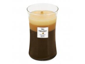 WoodWick Trilogy Cafe Sweets Dezert v kavárně vonná svíčka s dřevěným knotem, 609,5 g
