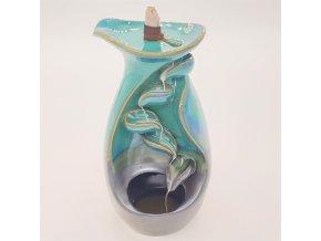 Ancient Wisdom Stojan na vonné kužely Tekoucí dým Váza Zeleno modrá, 20 x 10 cm