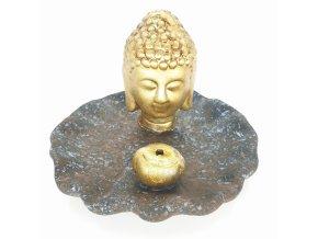Mani Bhadra Stojánek na vonné tyčinky Zlatý thajský Buddha modro hnědá