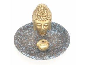 Mani Bhadra Stojánek na vonné tyčinky Zlatý thajský Buddha modro hnědá kulatý