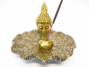 Mani Bhadra Stojánek na vonné tyčinky Zlatý thajský Buddha hnědá Lotos