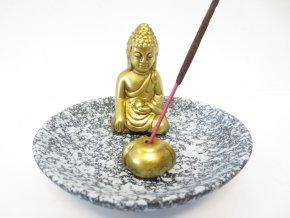 Mani Bhadra Stojánek na vonné tyčinky Zlatý thajský Buddha šedá kulatý