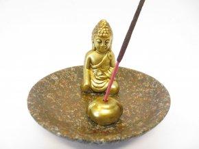 Mani Bhadra Stojánek na vonné tyčinky Zlatý thajský Buddha hnědá kulatý