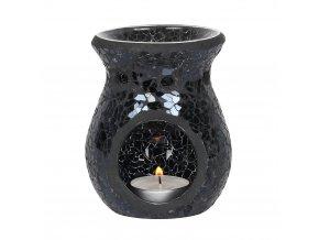 Jones Home Skleněná aroma lampa mozaika černá, 11 x 9 x 9 cm