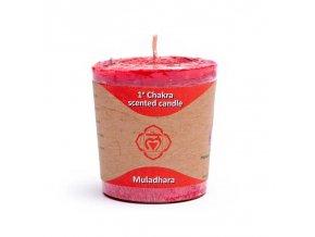 Yogi & Yogini Naturals Votivní svíčka 1. Chakra červená, 1 ks