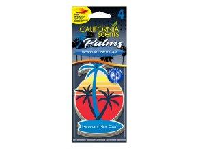 California Scents Palms 2D Newport New Car (Nové auto) papírová visačka, 4 ks