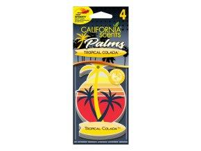 California Scents Palms 2D Tropical Colada papírová visačka, 4 ks