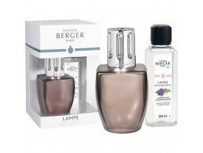 Maison Berger Paris Katalytická lampa JUNE hnědá + náplň Lavender Fields (Levandulové pole) Dárková sada, 250 ml