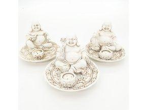 Mani Bhadra Stojánky na vonné tyčinky a kužely Happy Buddhové Bílá, 3 ks