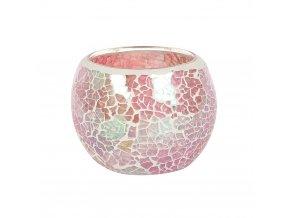 Jones Home Skleněný svícen mozaika růžový, 8 x 8 x 6,5 cm
