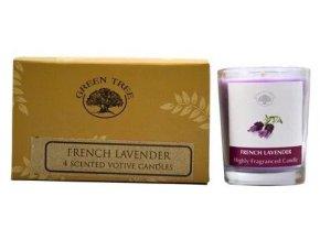 Green Tree French Lavender Votivní vonné svíčky Dárkové balení, 4 ks
